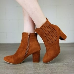 Shoes - Vegan Suede Tan Bock Heel Ankle Bootie - S